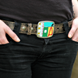 One of a kind vintage license plate mosaic belt buckle.