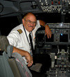 Jeff Bushnell enjoying the left seat of the Boeing 757