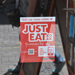 JustEat NFC Window Sticker supplied and encoded by RapidNFC