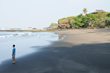 Pristine beach in Bali, with luxury vacation rental in background