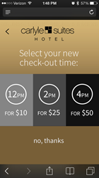Carlyle Suites Mobile CheckIn/Out Screen