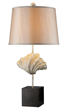 Dimond Lighting Edgewater Table Lamp in Oyster Shell and Dark Bronze with Light Gold Faux Silk Shade and Cream Liner D1976