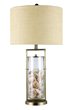 Dimond Lighting Millisle Table Lamp in Antique Brass and Clear Glass with Shells Inside and an Off-White Woven Linen Shade-Off-White Fabric Liner D1978