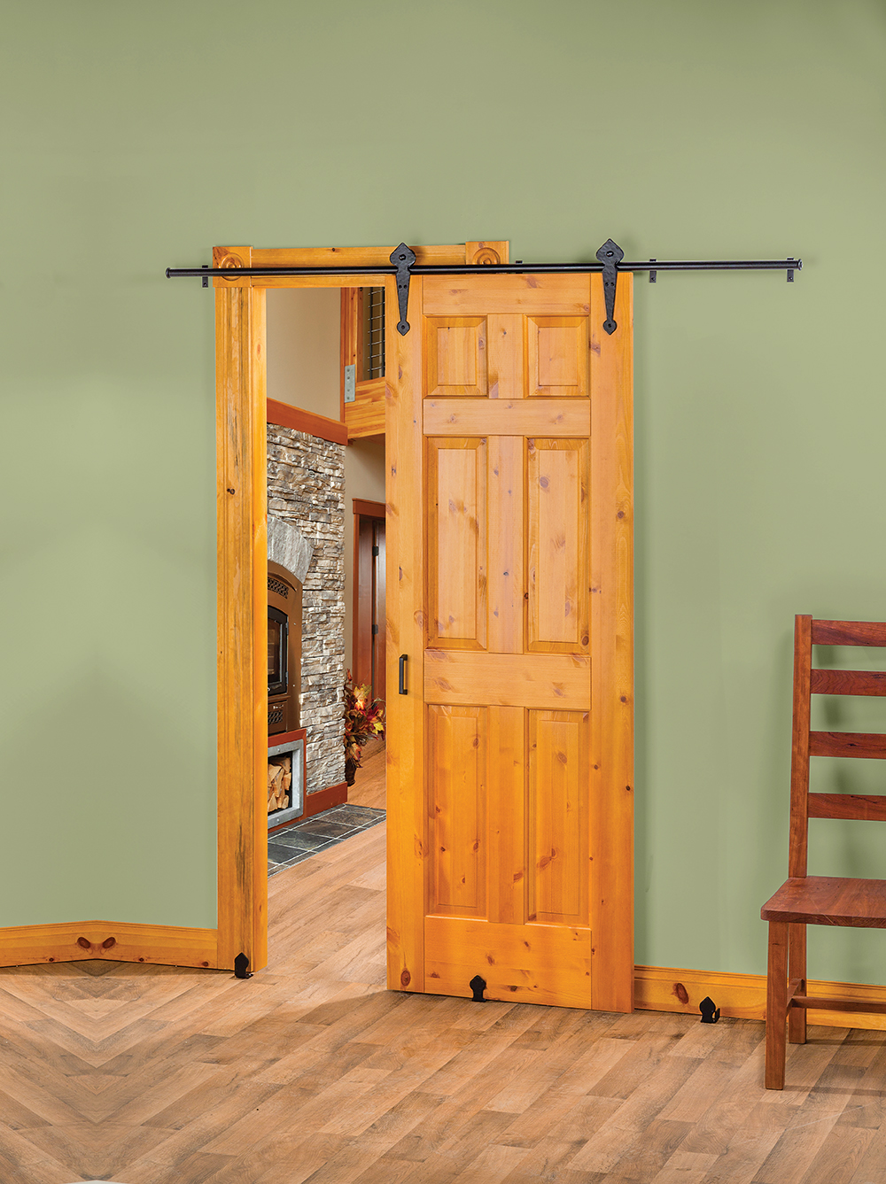 new rolling barn style door hardware creates stylish space saving interior door options doors. Black Bedroom Furniture Sets. Home Design Ideas