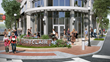 The hotel's transparent public atrium on Bloomfield Avenue is designed to welcome pedestrians from the street.