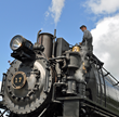Volunteer In Action With A Steam Train at the Mt. Rainier Scenic Railroad & Museum