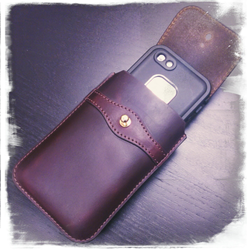 Blacksmith-Labs Barrett Grande in Horween Chromexcel Burgundy leather finish, with an iPhone 5s in a Lifeproof FRE case