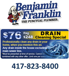 Drain Cleaning Springfield MO - Ben Franklin Plumbing