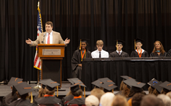 Jay W. Ragley, senior director of state relations for Connections Education, delivers the commencement address