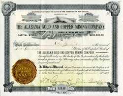Alabama Gold and Copper Mining Company signed by Sherriff, Pat Garrett (killed Billy The Kid) - Jarilla, New Mexico 1899