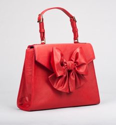 Pink Tulips PEONY Leather Handbag in Ruby Red