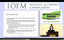 Visit http://www.iofm.com/irs-regulation-bootcamp-online for more information.