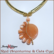Crescent Moon Necklace, Red Aventurine and Orange Cats Eye