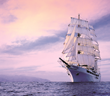 Sea Cloud II with pink sky