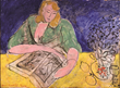Woman Reading at a Yellow Table