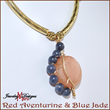 Crescent Moon Necklace, Red Aventurine and Blue Jade