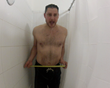 Inventor Patrick Raymond demonstrates shower space before and after Curvit
