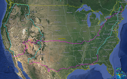 The 15,674-mile route transits 35 states while weaving between the Pacific Crest Trail (PCT) on the West Coast, the Continental Divide Trail (CDT) through the Rockies and the Appalachian Trail (AT) in the East. Hiking segments in blue, biking in purple.
