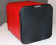 Velodyne MiniVee 8 leather-wrapped subwoofer, in red