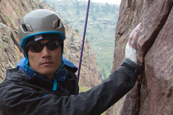 Veteran Steve Baskis climbing.