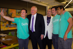Illinois Governor Pat Quinn and the Team stop to take a #Selfie.