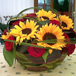 Summer flower centrepieces designed by Flowers24hours. Flower arrangement for same day flower delivery Lond - Solaris - flowers delivery