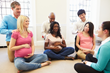 Fathers participating in a birthing class.