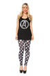 Now you can show your support for Earth's  No. 1 Super Hero team  with this distressed Avengers A tank and pair it with these striking black and white Avengers icon leggings.