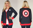 "This Her Universe Captain America cardigan is just what your closet needs. A ""Geek Prep"" style to mash up with your geeky interests! Features ""Cap's"" famous red, white and blue indestructible shield."