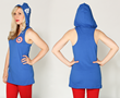 Turns this hooded racerback tank top into an everyday cosplay design! Hood down, casual tank top...hood up instantly feel like the symbol of freedom and patriotism, Captain America!