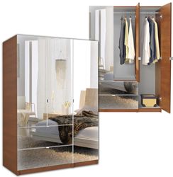 3 Door Mirrored Armoire