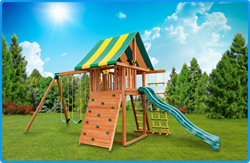Cedar wooden swing set with slide swings rock climbing wall swing set raffle Best in Backyards Ty Louis Campbell Foundation