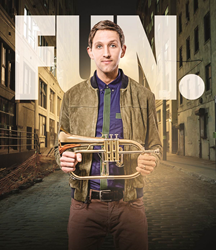 Andrew Dost of the band fun. with trumpet to receive Stand 4 Music Award