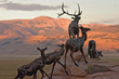 The three-quarter mile Sculpture Trail shows wildlife art in natural settings, changing with the seasons. (Sculpture: Bart Walter, Wapiti Trail)