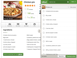 online shopping list recipe app tool