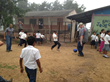 Crimson Cup President Greg Ubert plays soccer with students in El Socorro de la Penita Honduras
