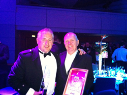 Dave Pearson of Star Renewable Energy with Star Refrigeration's Managing Director Graham Stuart after winning Public Sector Project of the Year