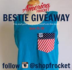 Bestie Giveaway dates, Frocket, Monogrammed, Tee, america, 4th of July