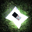 The LuminAID solar light packs flat and inflates to create a diffuse lantern that charges in sunlight and provides up to 16 hours of LED light.