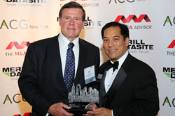 Bill van Wagner, Managing Director, Allegiance Capital, New York City accepts Energy Deal  of the Year award from Roger Aguinaldo, CEO/Founder M&A Advisor