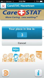 CareSTAT mobile app - Check in and wait in line from remote location