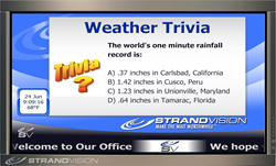 StrandVision Digital Signage now offers Free Electronic Signage Trivia