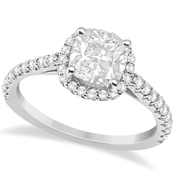 Halo Cushion Cut Preset Diamond Engagement Ring 14K White Gold 0.88ct