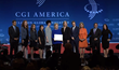 Secretary Clinton with representatives from each of the employers making commitments to young adults at CGI America 2014.
