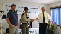 From L-R: Wayne Burnett, RainWise CTO; Joseph Mints, District Ranger, Maine Forest Service; Carsten Steenberg, RainWise CEO
