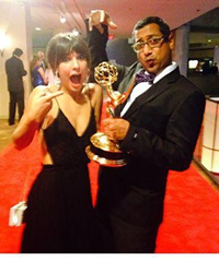 Denyse and Suren goofing around post win on the red carpet!