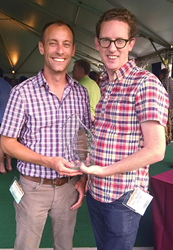 "Kit Check Co-founders Tim Kress-Spatz and Kevin MacDonald with the NVTC ""Hottest Startup"" Award."