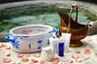 products used in foot ritual at Spa of the Rockies at Glenwood Hot Springs