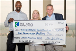Pictured here (from left to right) are former NFLer and current Sports Analyst Herman Moore, CCSS' Executive Director Faith Fowler, and Best Drug Rehabilitation's CEO Per Wickstrom.