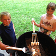 Kids with S'Mores in Weber Grill